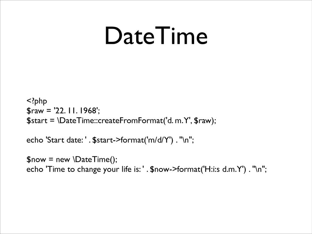 DateTime <?php	 