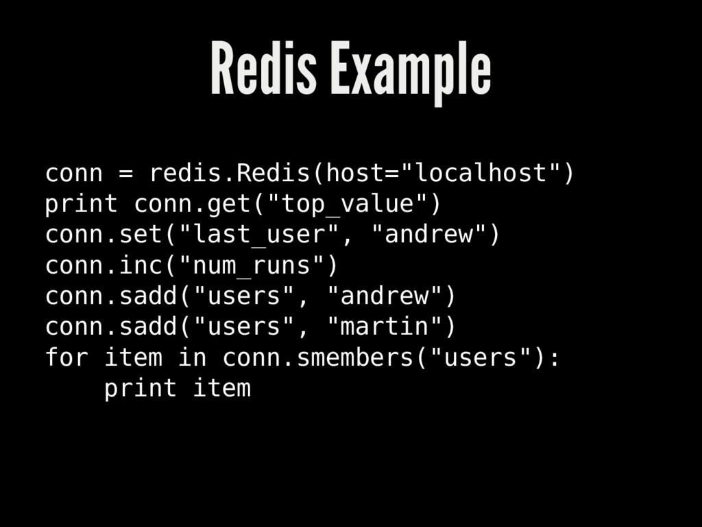"""Redis Example conn = redis.Redis(host=""""localhos..."""