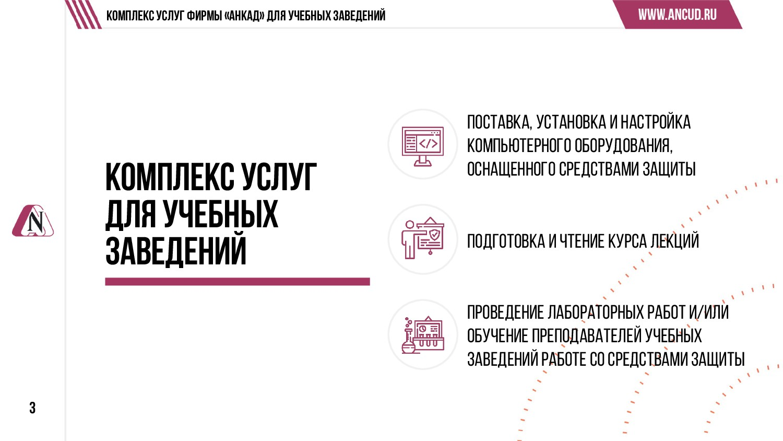 3 Комплекс услуг Фирмы «АНКАД» для учебных заве...