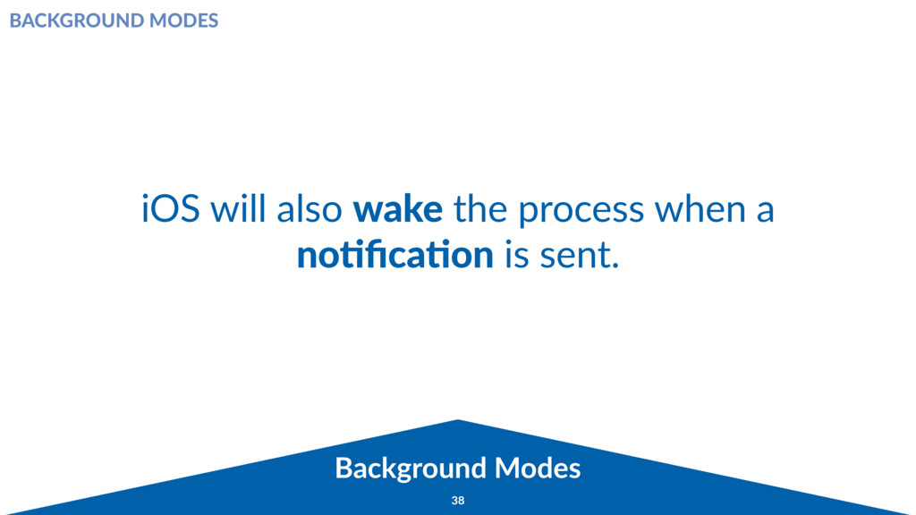 Background Modes 38 iOS will also wake the proc...