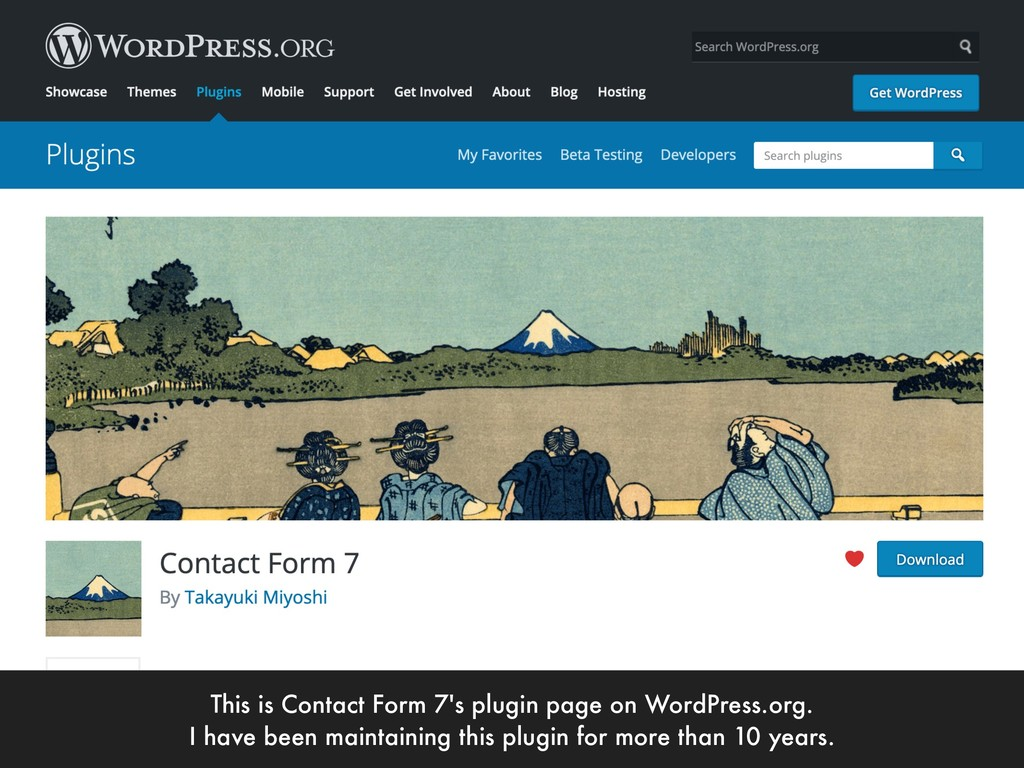 This is Contact Form 7's plugin page on WordPre...