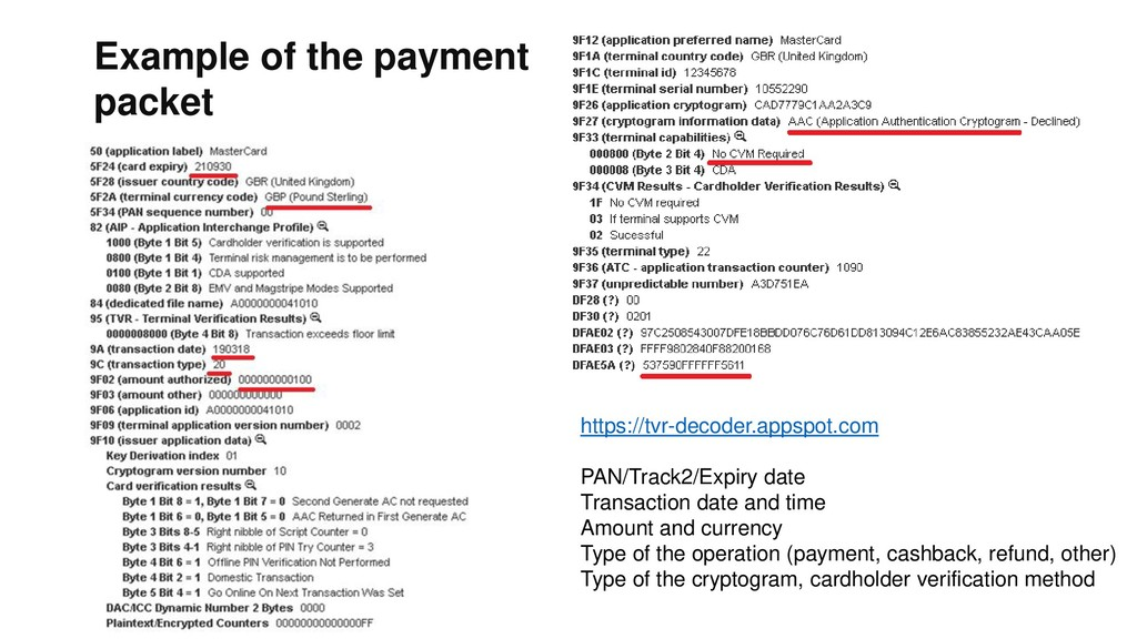 Example of the payment packet https://tvr-decod...