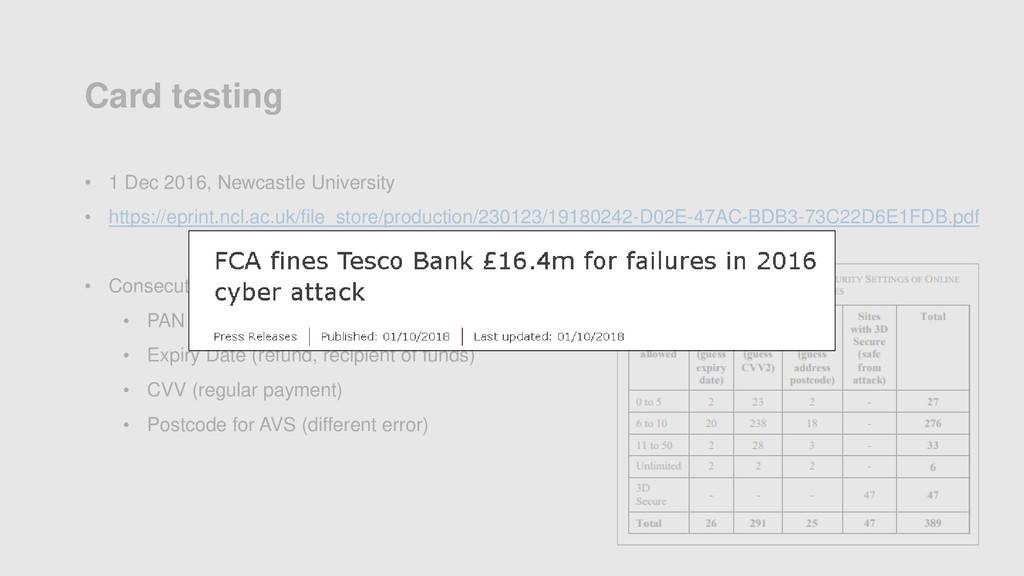 Card testing • 1 Dec 2016, Newcastle University...