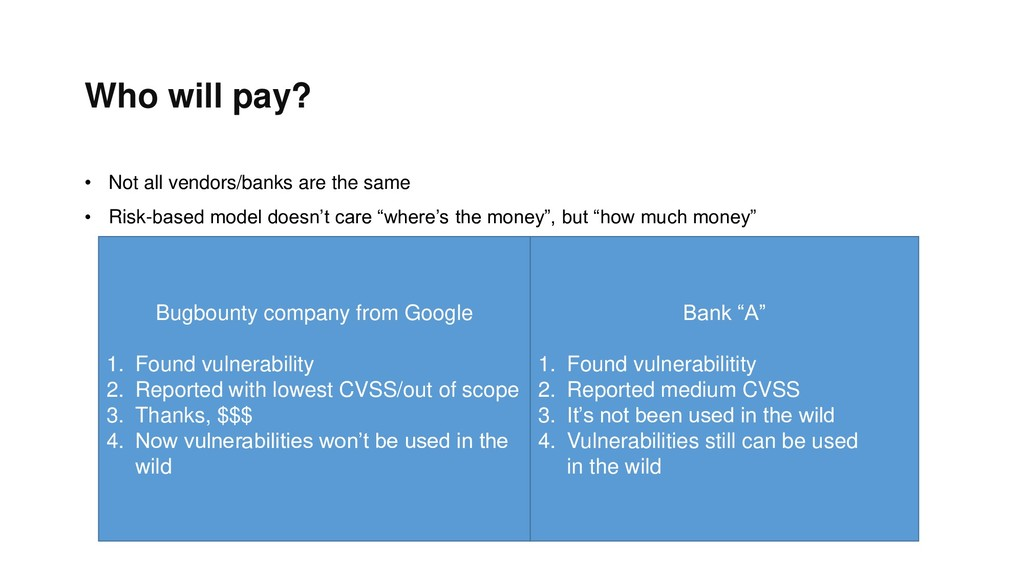 Who will pay? • Not all vendors/banks are the s...