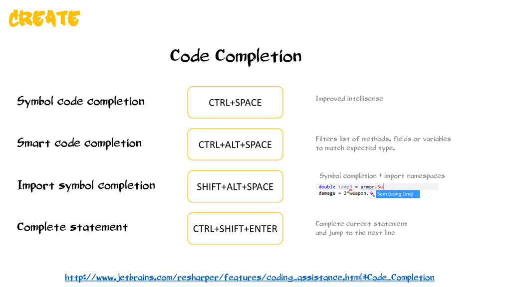 Code Completion Symbol code completion CTRL+SPA...