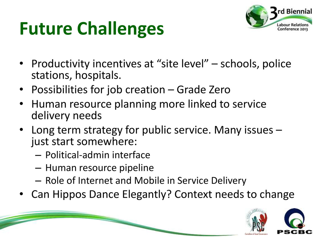 Future Challenges • Productivity incentives at ...