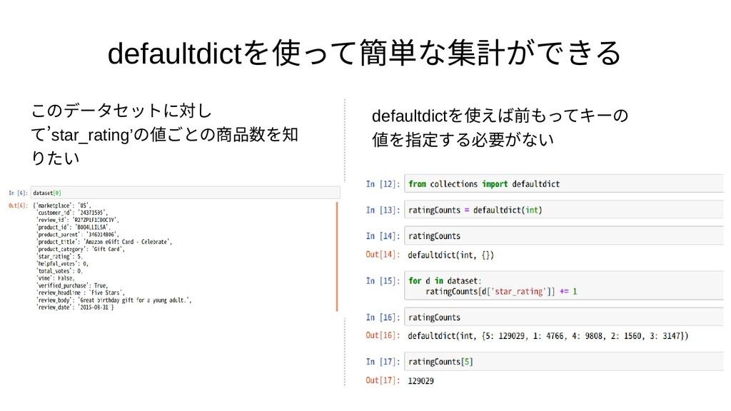 defaultdictを実装」 使えるってフィールドにア簡単な集計ができるなコンテナデータ集計...