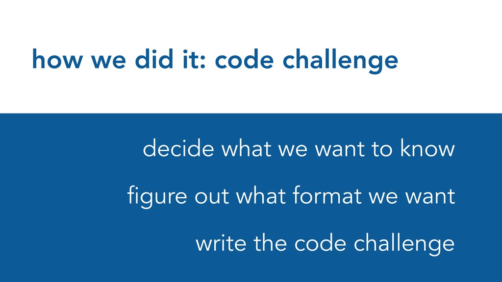 how we did it: code challenge decide what we wa...