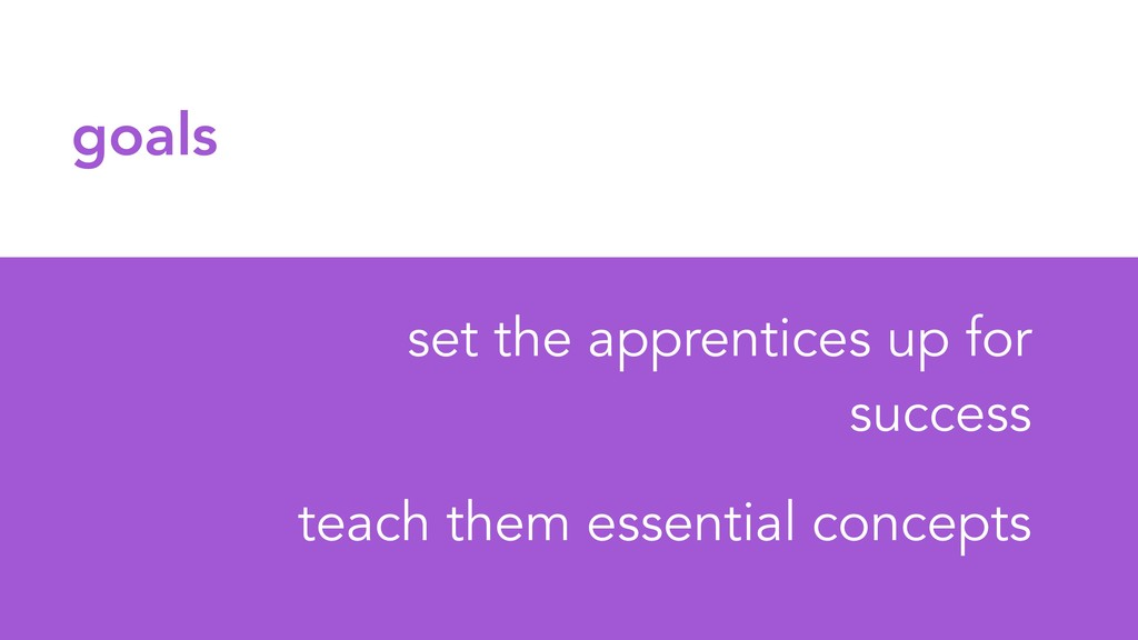 goals set the apprentices up for success teach ...