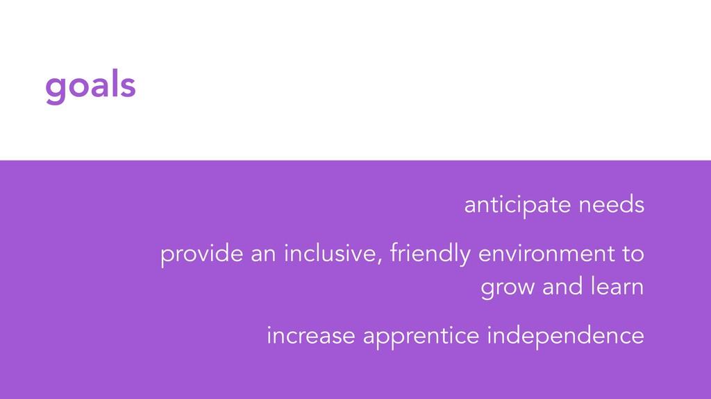 goals anticipate needs provide an inclusive, fr...