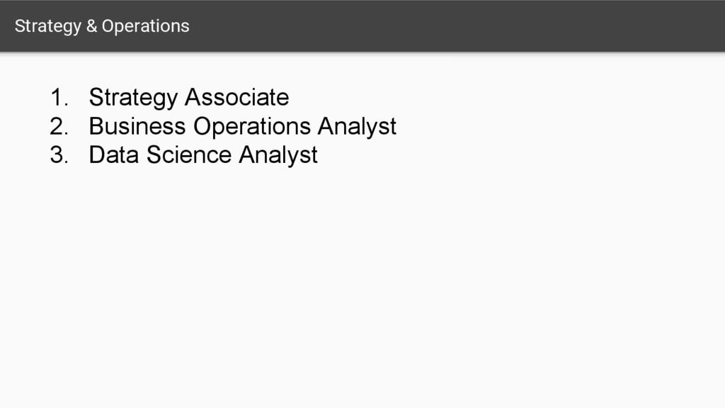 Strategy & Operations 1. Strategy Associate 2. ...