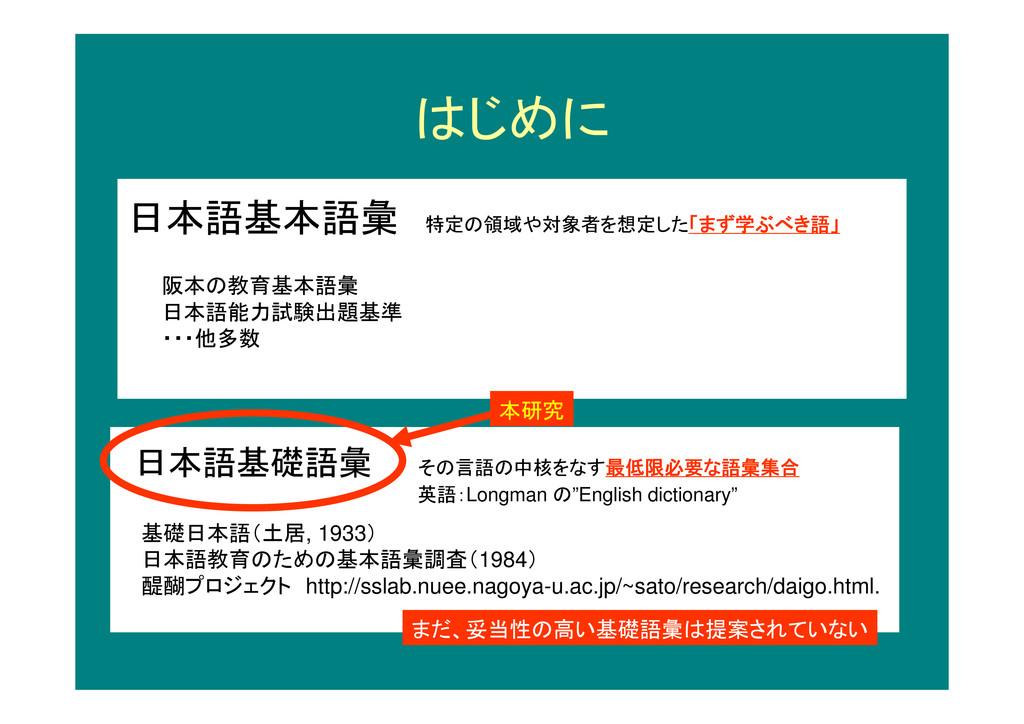 はじめに 日本語基本語彙 特定の領域や対象者を想定した「まず学ぶべき語」 日本語基礎語彙 その...