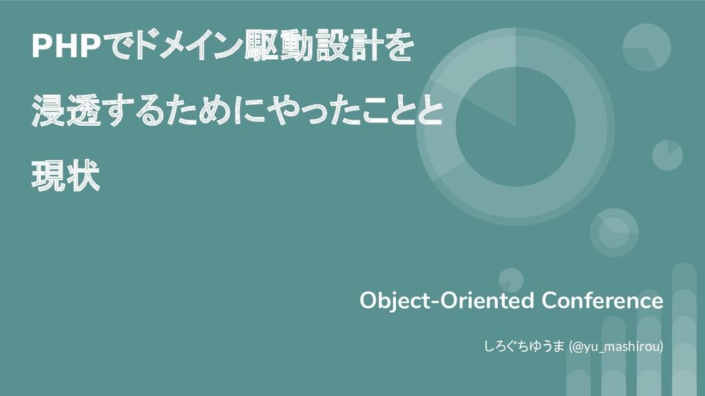 PHPでドメイン駆動設計を 浸透するためにやったことと 現状 Object-Oriented ...