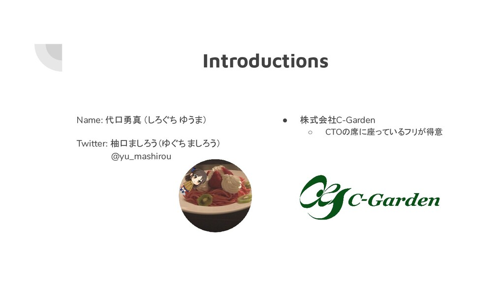 Introductions Name: 代口勇真 (しろぐち ゆうま) Twitter: 柚口...