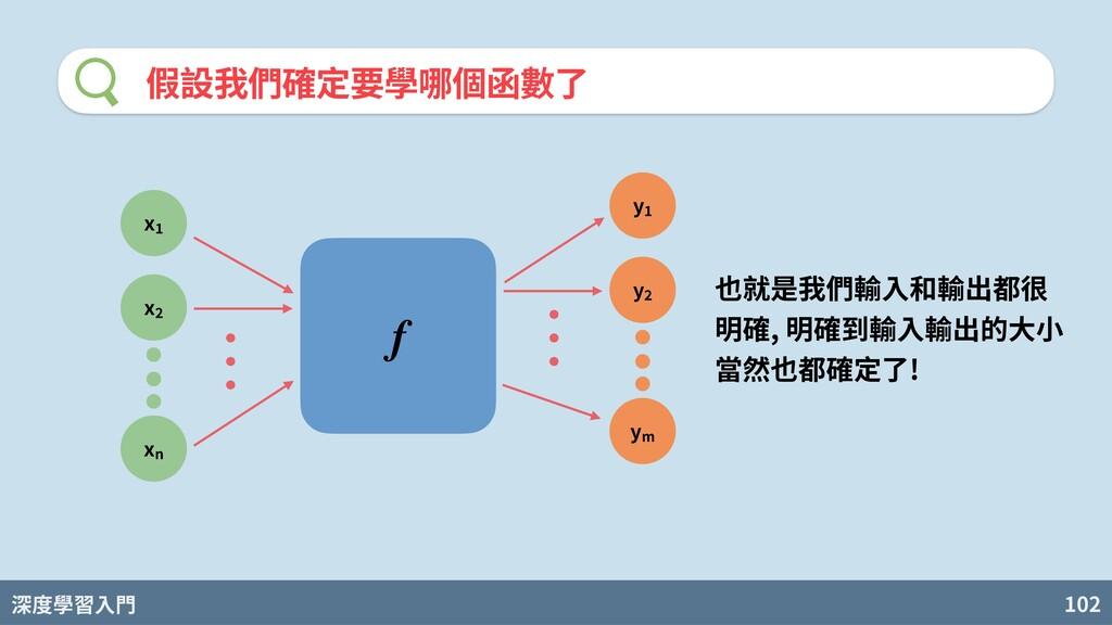 深度學習入門 102 假設我們確定要學哪個函數了 f x x xn y y ym 也就是我們輸...