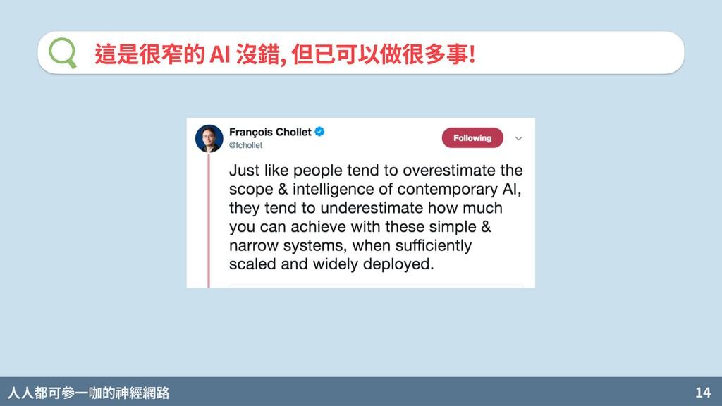 人人都可參一咖的神經網路 14 這是很窄的 AI 沒錯, 但已可以做很多事!