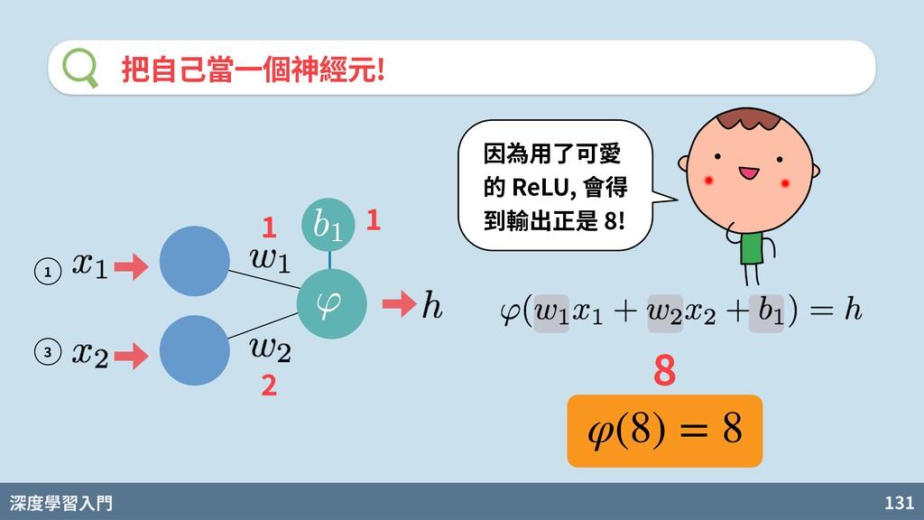 深度學習入門 131 把⾃⼰當⼀個神經元! 因為⽤了可愛 的 ReLU, 會得 到輸出正是 8...