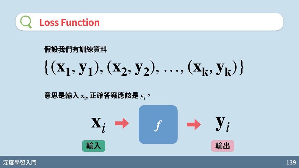 深度學習入門 139 Loss Function 假設我們有訓練資料 {(x1 , y1 ),...