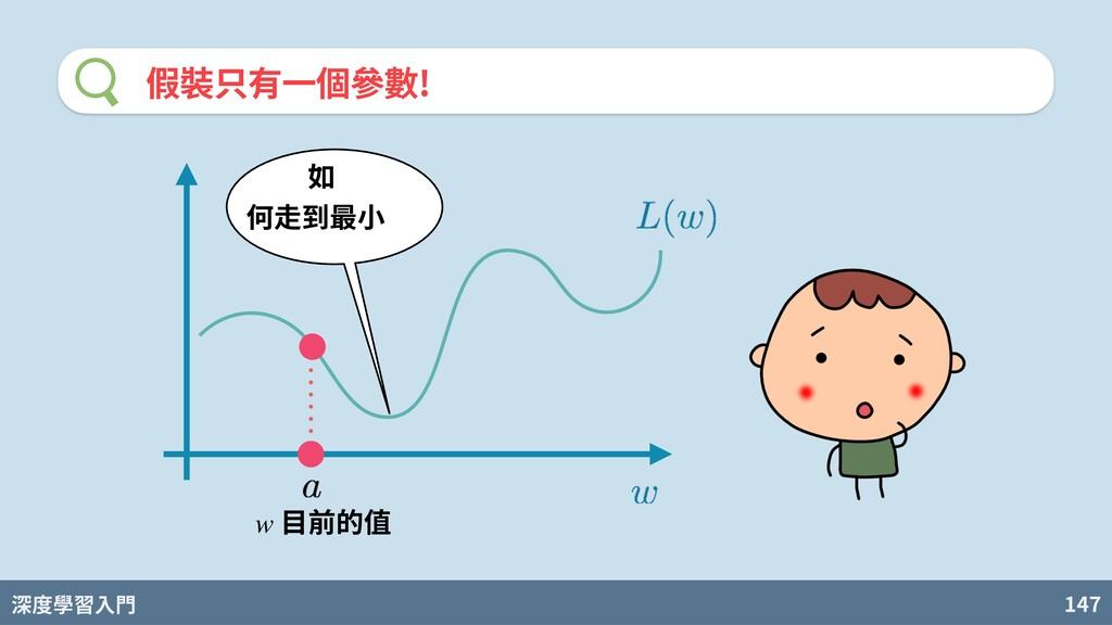 深度學習入門 147 假裝只有⼀個參數! ⽬前的值 w 如 何⾛到最⼩