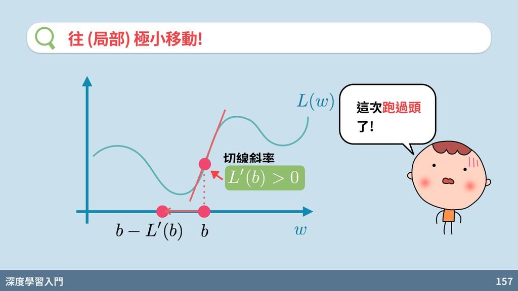 深度學習入門 157 往 (局部) 極⼩移動! 切線斜率 這次跑過頭 了!
