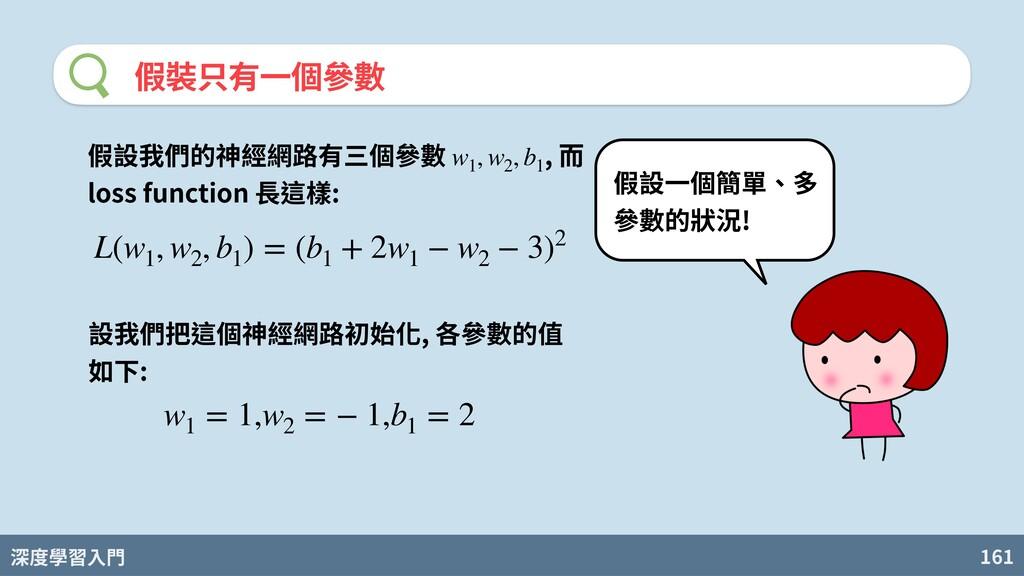 深度學習入門 161 假裝只有⼀個參數 L(w1 , w2 , b1 ) = (b1 + 2w...