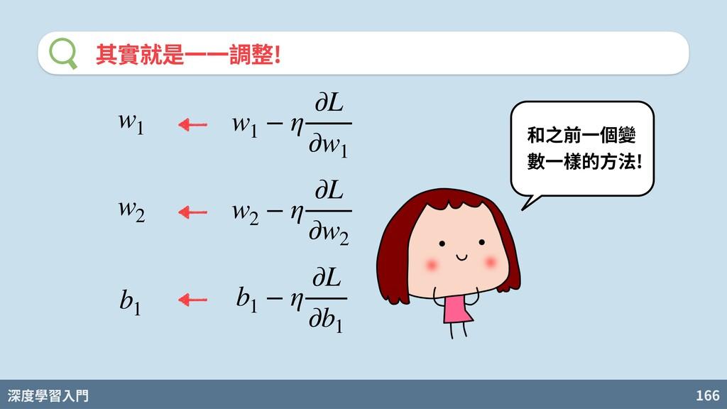 深度學習入門 166 其實就是⼀⼀調整! 和之前⼀個變 數⼀樣的⽅法! w1 − η ∂L ∂...
