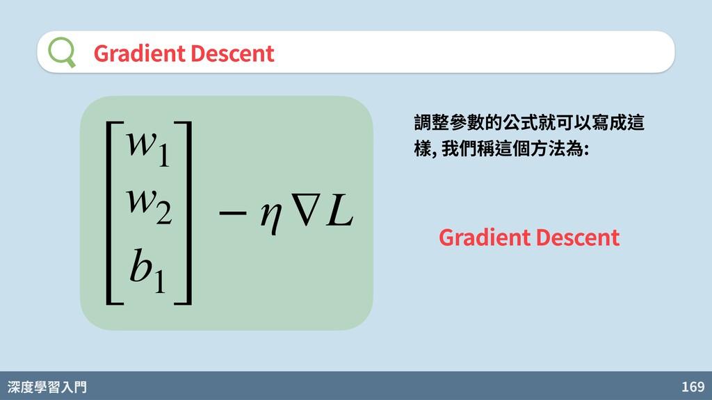深度學習入門 169 Gradient Descent w1 w2 b1 − η∇L 調整參數...