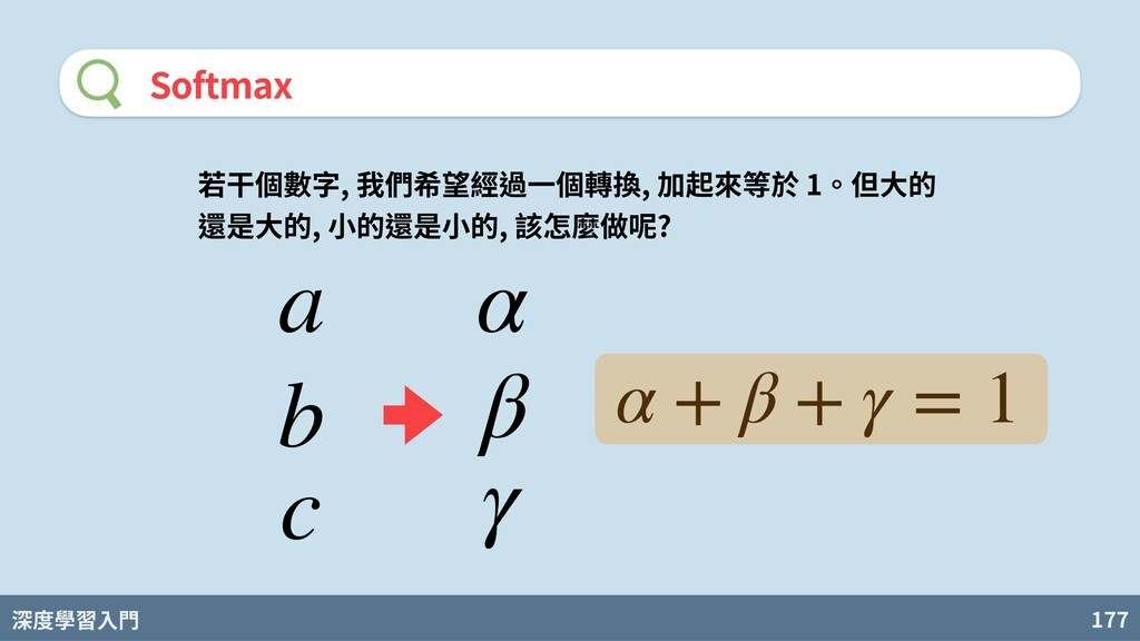 深度學習入門 177 Softmax 若⼲個數字, 我們希望經過⼀個轉換, 加起來等於 1。但...