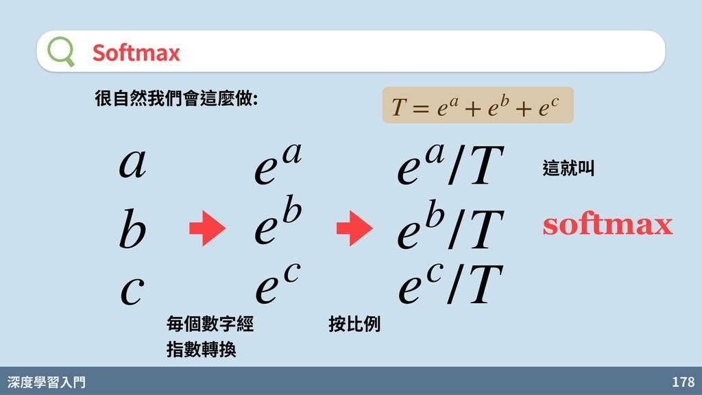 深度學習入門 178 Softmax a b c 很⾃然我們會這麼做: ea eb ec 毎個...