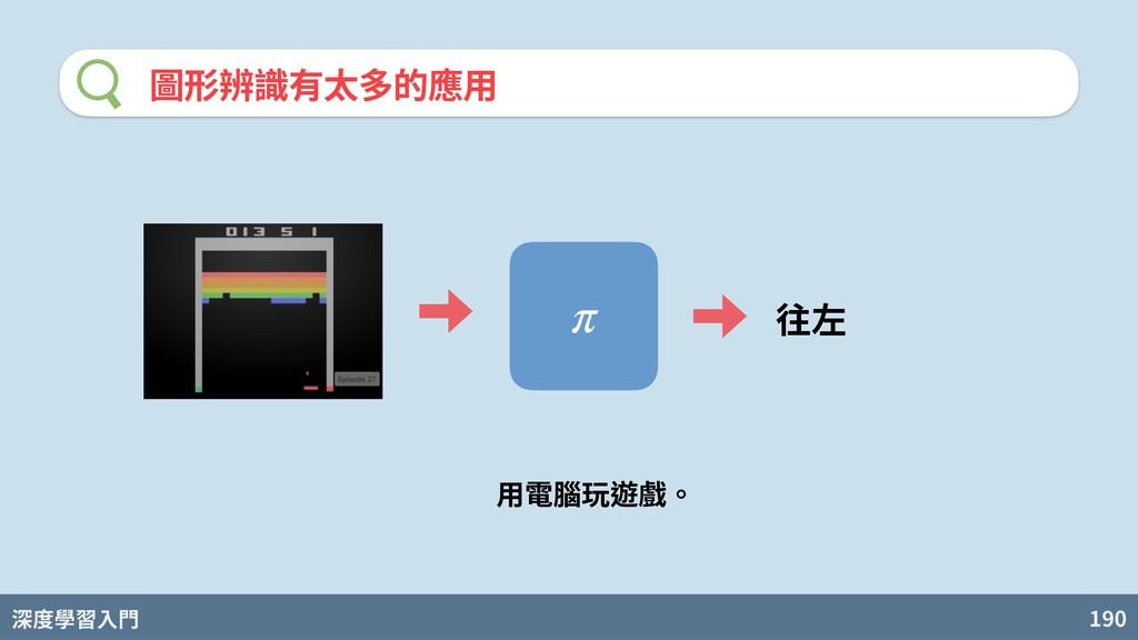深度學習入門 190 圖形辨識有太多的應⽤ π 往左 ⽤電腦玩遊戲。