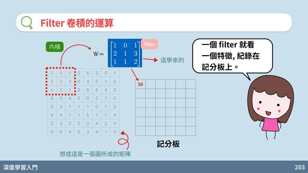深度學習入門 203 Filter 卷積的運算 2 5 5 2 5 2 0 1 2 3 4 0...