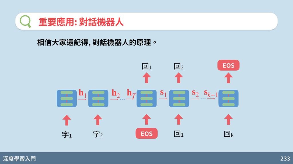 深度學習入門 233 重要應⽤: 對話機器⼈ 字1 字2 回1 EOS 回1 回2 回k EO...
