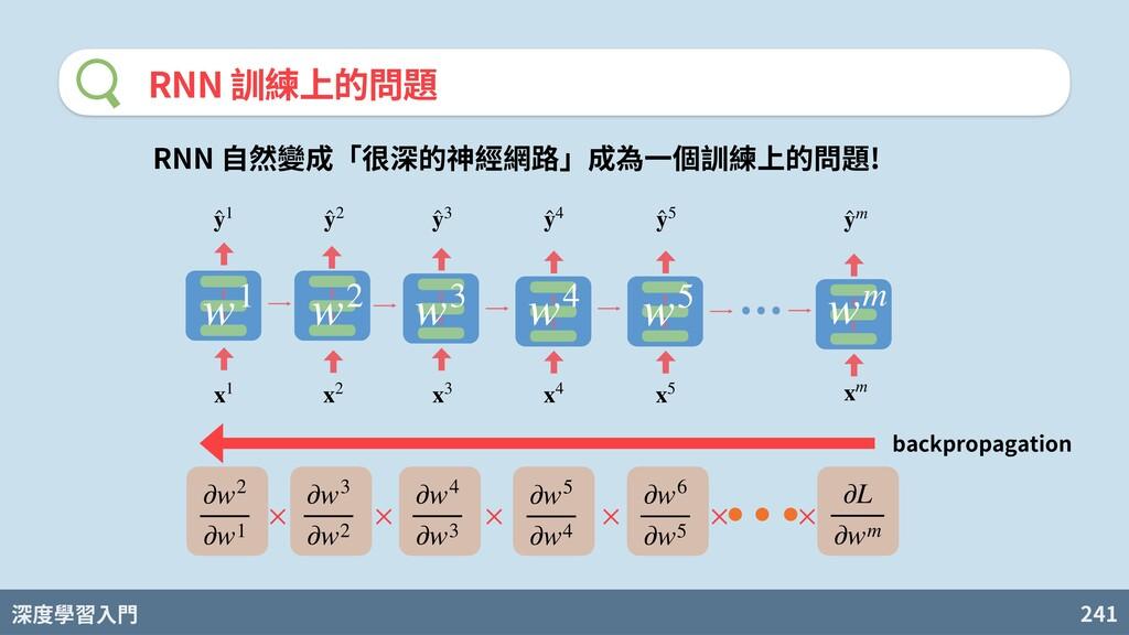 深度學習入門 241 RNN 訓練上的問題 x3 x4 x5 ̂ y3 xm x2 x1 ̂ ...