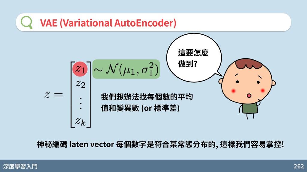 深度學習入門 262 VAE (Variational AutoEncoder) 我們想辦法找...