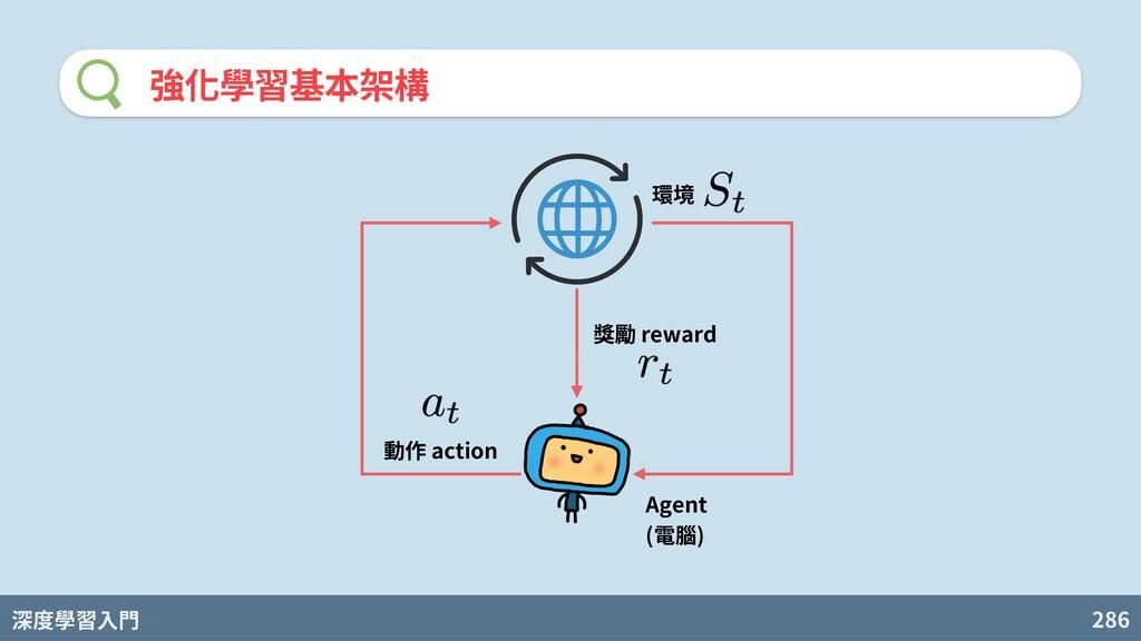 深度學習入門 286 強化學習基本架構 Agent (電腦) 環境 動作 action 獎勵 ...