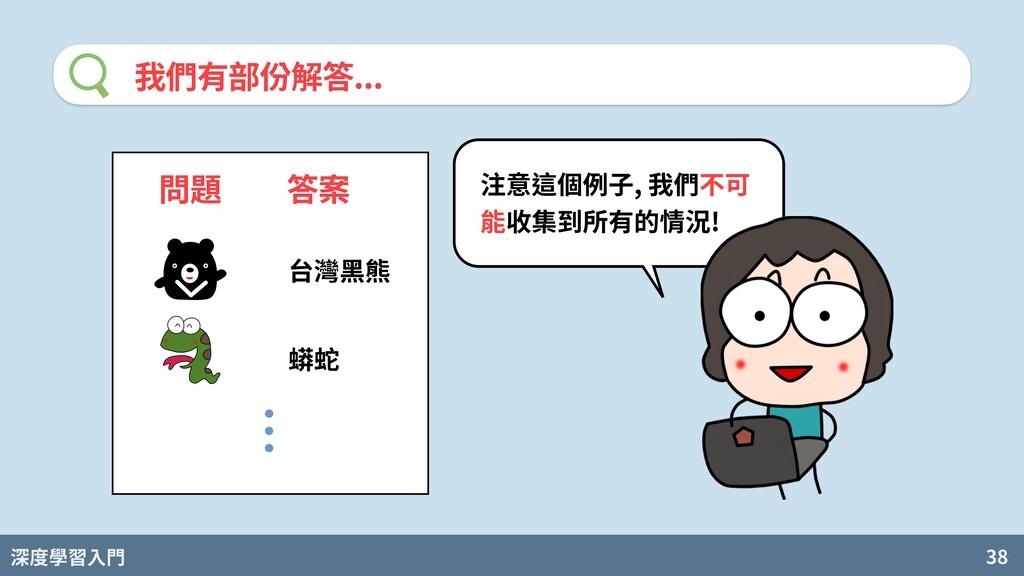 深度學習入門 38 我們有部份解答... 問題 答案 台灣⿊熊 蟒蛇 注意這個例⼦, 我們不可...