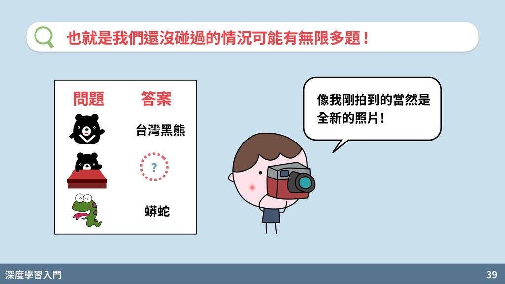 深度學習入門 39 也就是我們還沒碰過的情況可能有無限多題 ! 問題 答案 台灣⿊熊 蟒蛇 ?...