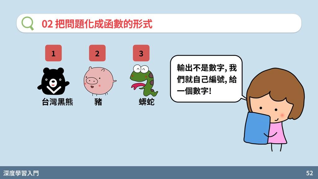 深度學習入門 52 02 把問題化成函數的形式 台灣⿊熊 豬 蠎蛇 輸出不是數字, 我 們就⾃...