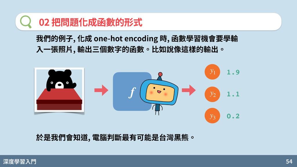 深度學習入門 54 02 把問題化成函數的形式 f 我們的例⼦, 化成 one-hot enc...