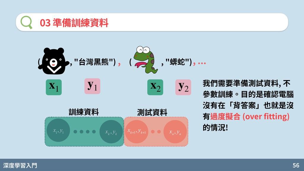 """深度學習入門 56 03 準備訓練資料 ( , """"台灣⿊熊"""") ( , """"蠎蛇"""") , , ...."""