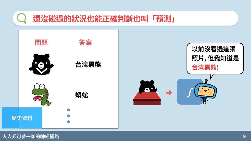 人人都可參一咖的神經網路 9 還沒碰過的狀況也能正確判斷也叫「預測」 問題 答案 台灣⿊熊 蟒...