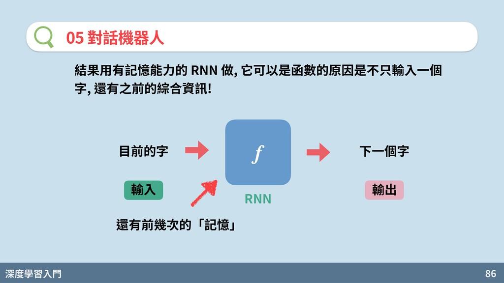 深度學習入門 86 05 對話機器⼈ 結果⽤有記憶能⼒的 RNN 做, 它可以是函數的原因是不...