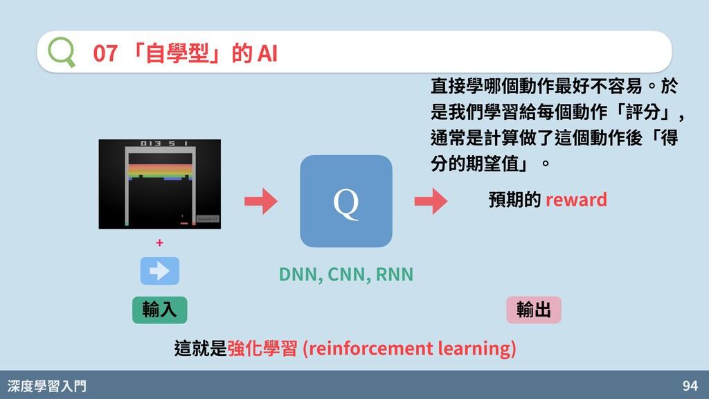 深度學習入門 94 07 「⾃學型」的 AI 直接學哪個動作最好不容易。於 是我們學習給每個動...