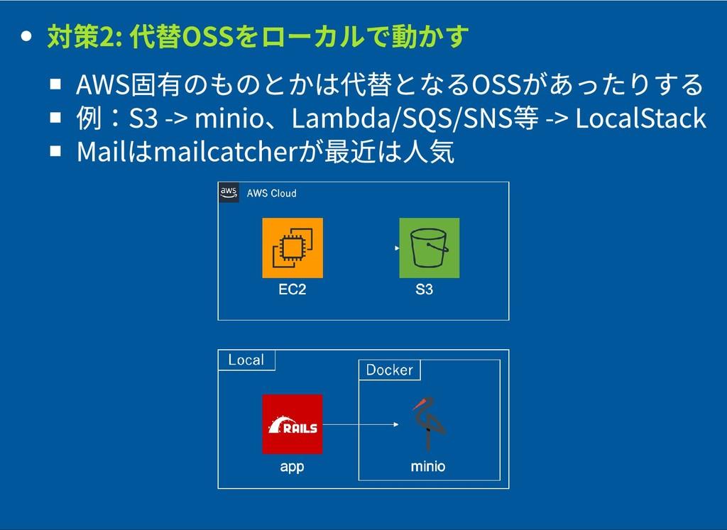 対策2: 代替OSSをローカルで動かす 対策2: 代替OSSをローカルで動かす AWS固有のも...
