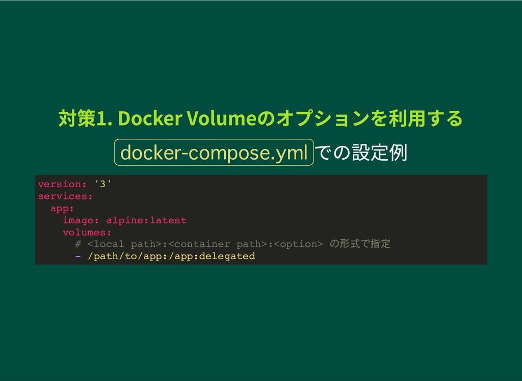 対策1. Docker Volumeのオプションを利用する 対策1. Docker Volum...