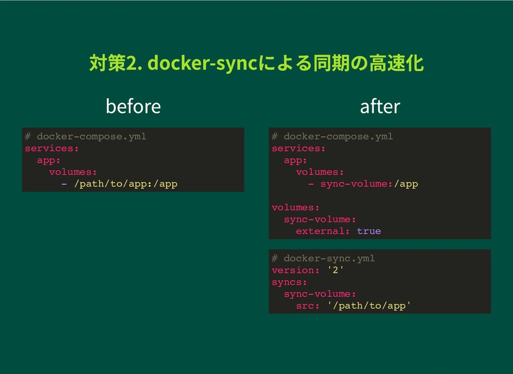 before after 対策2. docker-syncによる同期の高速化 対策2. doc...