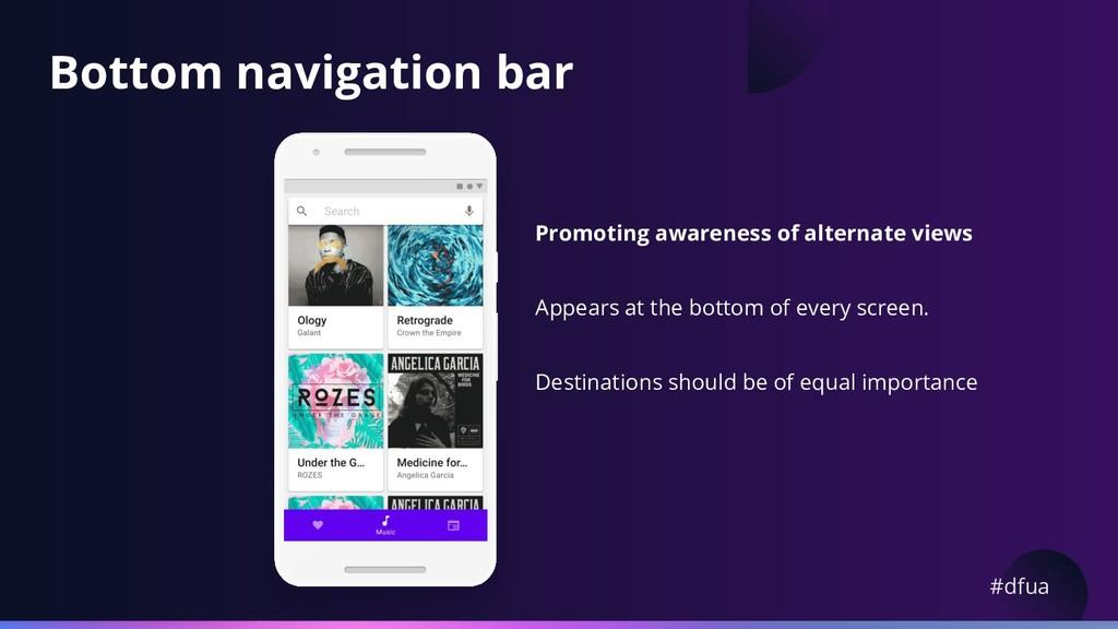 #dfua Bottom navigation bar Promoting awareness...