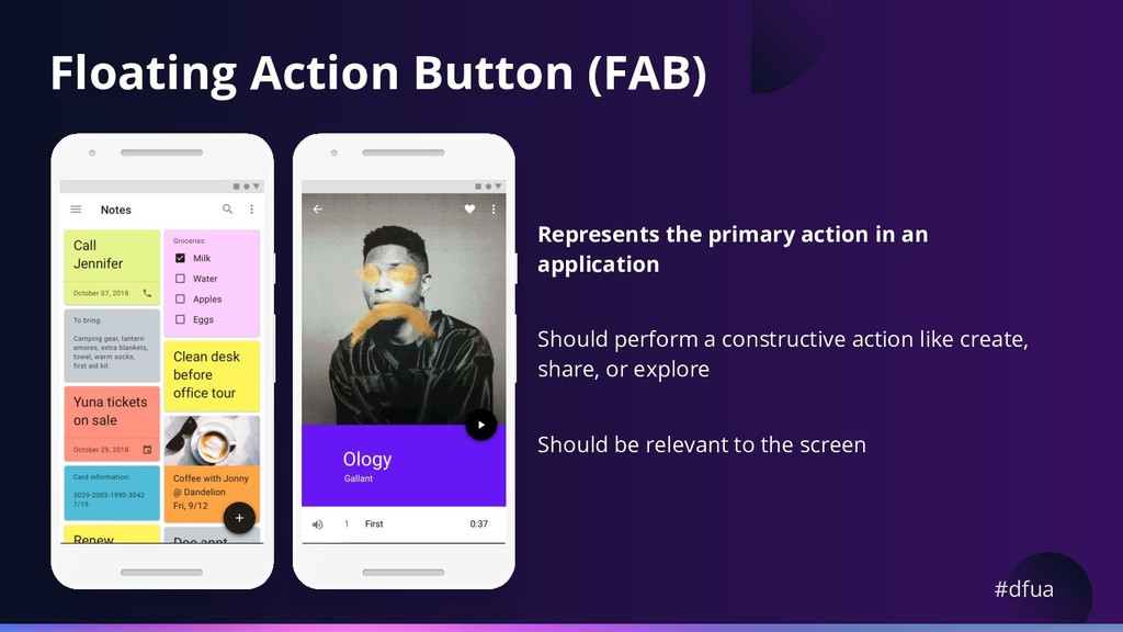 #dfua Floating Action Button (FAB) Represents t...