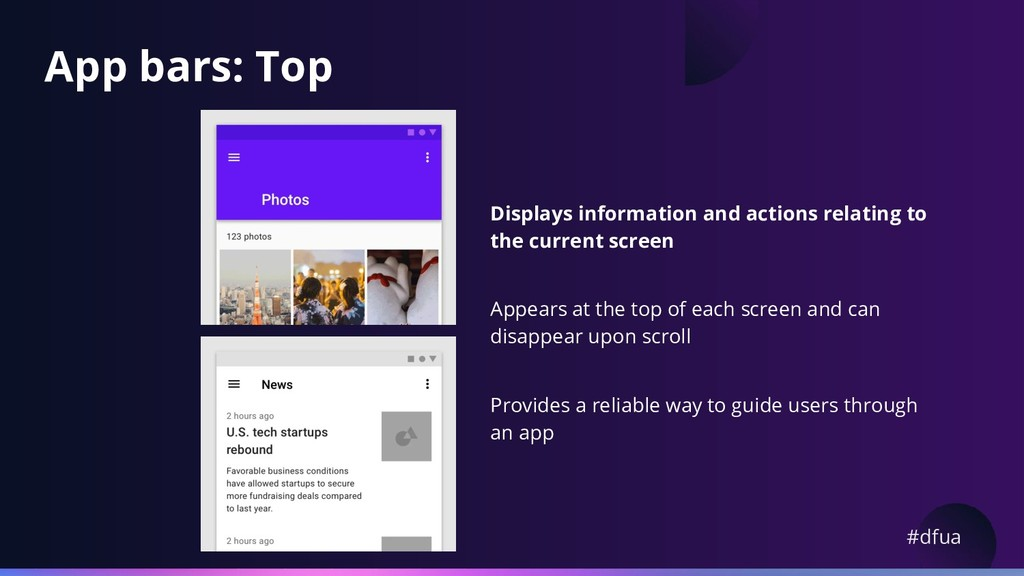 #dfua App bars: Top Displays information and ac...