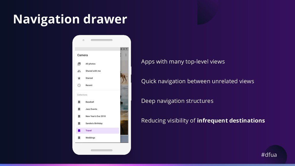 #dfua Navigation drawer Apps with many top-leve...